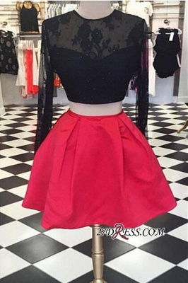 Lace Short Two-Piece Halter Long-Sleeve Backless Homecoming Dresses_3