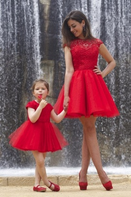 Lovely Red Lace Mother and Daughter Dress Tulle Short Cocktail Dress_1