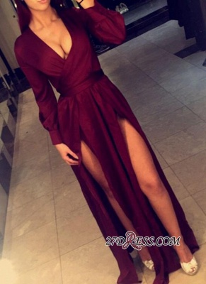 2020 Sexy Side-Slits Long Burgundy Dress Prom Long Sleeves Party Dresses BA4135_3