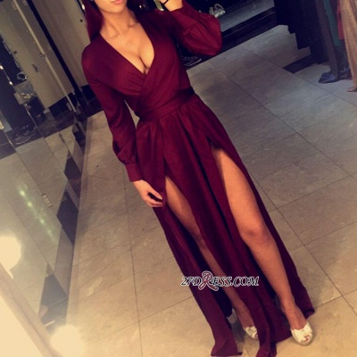 2020 Sexy Side-Slits Long Burgundy Dress Prom Long Sleeves Party Dresses BA4135_2