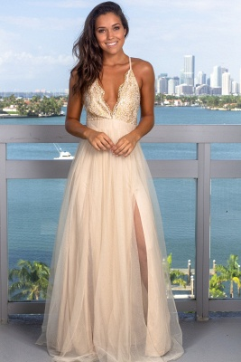 Modest Deep V-Neck Sleeveless 2020 Prom Dress | Long Tulle Criss Cross Strings Evening Gowns_2