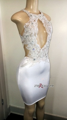 Elegant Crystal Backless Short Prom Dress | Sexy Halter Sleeveless Applique Prom Gown_1