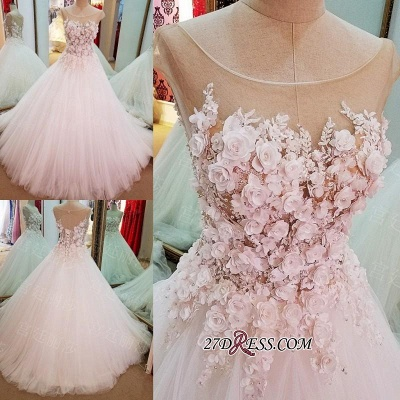 Flowers Ball-Gown Lace-Up Luxury Cap-Sleeves Wedding Dress_1