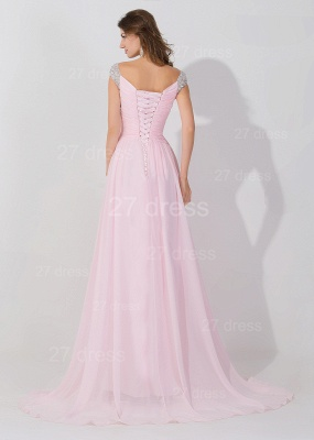 Sexy Beadings Cap Sleeve Evening Dress Chiffon Pink A-line_4