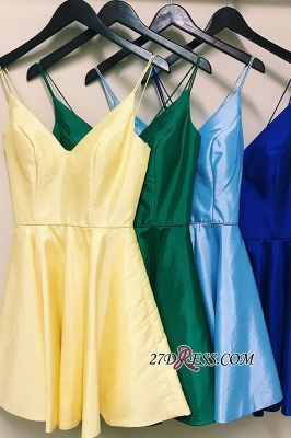 Spaghetti-Straps Cute V-neck A-Line Homecoming Dresses_1