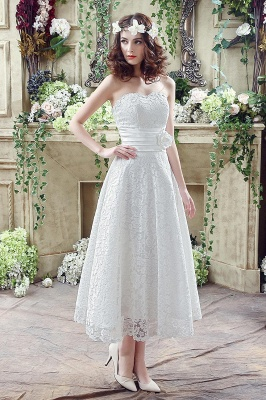 Delicate Lace Flower Strapless 2020 Wedding Dress A-line Sleeveless Lace-up_1