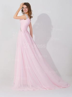 Sexy Beadings Cap Sleeve Evening Dress Chiffon Pink A-line_3