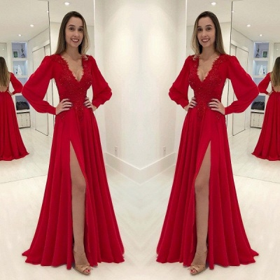 Sexy V-Neck Long Sleeves Red Evening Gown | Front Split Lace Applique Prom Dress On Sale_2