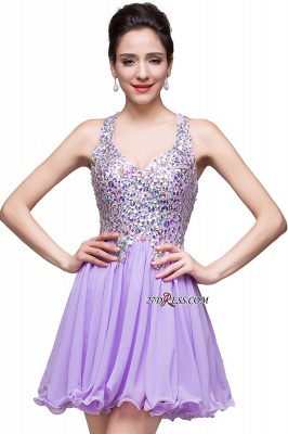 V-Neck Sleeveless Short Glamorous Crystal Cheap Homecoming Dress_3