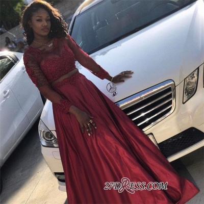 Chic Two Pieces A-Line Prom Dresses | Scoop Long Sleeves Lace Appliques Evening Dresses BK0_2