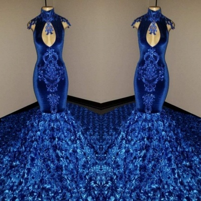 Glamorous Royal Blue Mermaid 2020 Prom Dresses | Flowers Bottom Lace Appliques Evening Gown BC1128_2