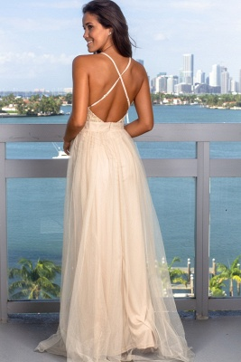 Modest Deep V-Neck Sleeveless 2020 Prom Dress | Long Tulle Criss Cross Strings Evening Gowns_5