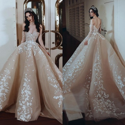Glamorous Long Sleeve Sweetheart Evening Gowns   Lace Appliques Prom Gowns_3