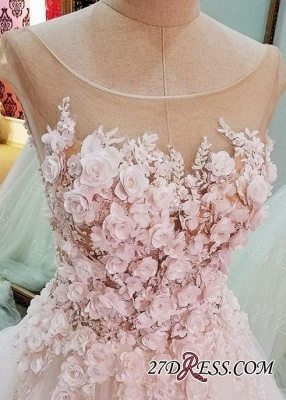 Flowers Ball-Gown Lace-Up Luxury Cap-Sleeves Wedding Dress_2