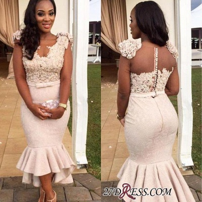 Mermaid Appliques Simple Sleevelss Buttons Hi-Lo Lace Prom Dress BA4670 BK0_1