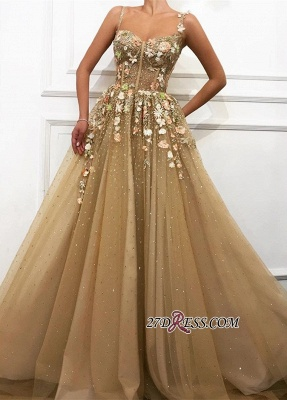Gorgeous A-Line Flower Appliques Tulle Party Dresses | Spaghetti-Straps Sleeveless Princess Prom Dresses_2