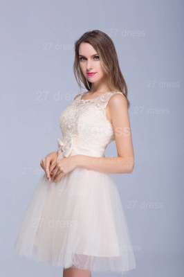Modern Illusion Sleeveless Tulle Homecoming Dress With Lace Bowknot_2