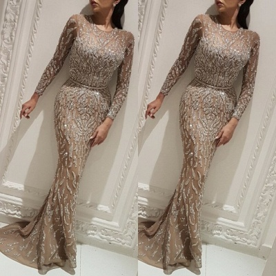 Gorgeous Crew Long Sleeves Evening Dress On Sale | 2020 Long Mermaid Sequins Prom Gowns BC0704_3