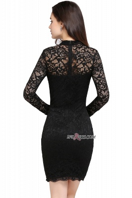 Short Black Long-Sleeves Lace High-Neck Party Dress_4