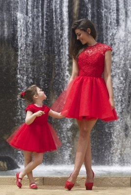 Lovely Red Lace Mother and Daughter Dress Tulle Short Cocktail Dress_3