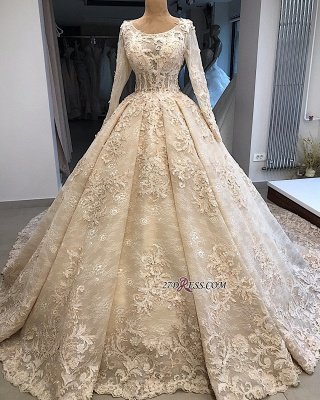 Ball-Gown Appliques Scoop Excellent Long-Sleeves Wedding Dresses_2