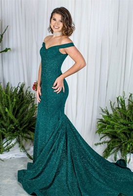 Green Off-the-Shoulder Prom Dress | 2020 Sequins Mermaid Evening Gowns_1