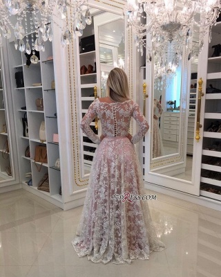 Sleeves Prom Shoulder Long A-Line Pink Newest Lace Dresses Off Pearls Evening Dresses_2
