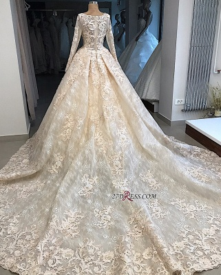 Ball-Gown Appliques Scoop Excellent Long-Sleeves Wedding Dresses_3