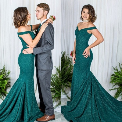 Green Off-the-Shoulder Prom Dress | 2020 Sequins Mermaid Evening Gowns_3