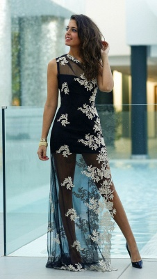Sexy Tulle Appliques Bodycon Prom Dress 2020 One Shoulder Sweep Train_1