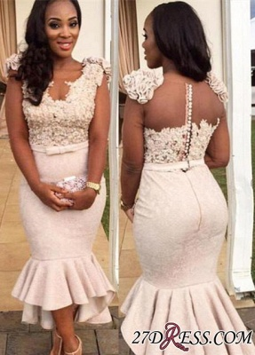 Mermaid Appliques Simple Sleevelss Buttons Hi-Lo Lace Prom Dress BA4670 BK0_2