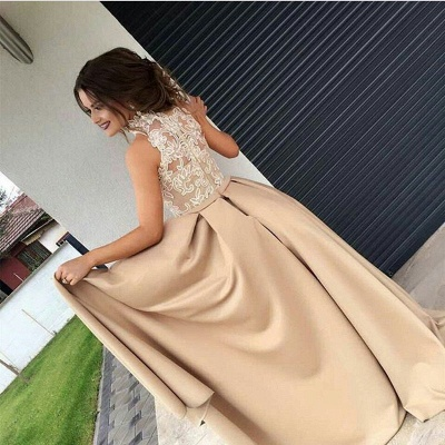 Elegant Halter Lace Ruffles Evening Dress 2020 Long Split Sleeveless Party Gowns_3