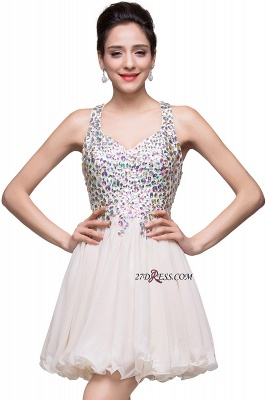 V-Neck Sleeveless Short Glamorous Crystal Cheap Homecoming Dress_6