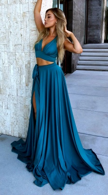Sexy Halter Sleeveless 2020 Evening Gowns | Long Empire Two Pieces Prom Dress With Split_5