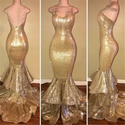 Glamorous Spaghetti Straps 2020 Prom Dress Long Sequins Mermaid Party Dress With Ruffles_2
