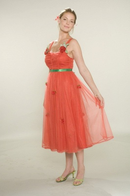 Bridesmaid Beautiful Orange Bridesmaid Dresses Wholesale Gowns for Straps Flowers Tulle Tea-length_1