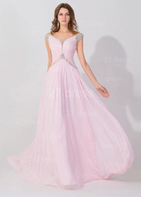 Sexy Beadings Cap Sleeve Evening Dress Chiffon Pink A-line_2
