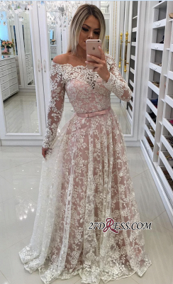 Sleeves Prom Shoulder Long A-Line Pink Newest Lace Dresses Off Pearls Evening Dresses_3