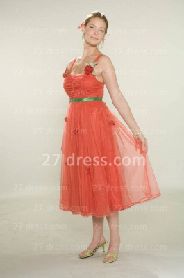Bridesmaid Beautiful Orange Bridesmaid Dresses Wholesale Gowns for Straps Flowers Tulle Tea-length_2