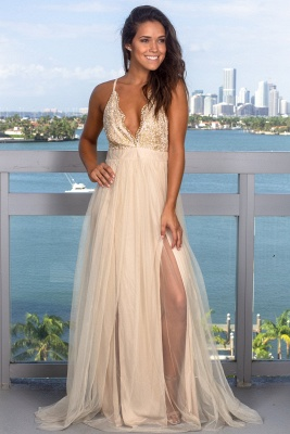 Modest Deep V-Neck Sleeveless 2020 Prom Dress | Long Tulle Criss Cross Strings Evening Gowns_1