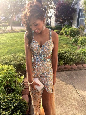 Split Beadings Sexy Prom Dress Stunning Crystal Straps and Front BK0_2