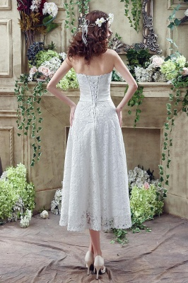 Delicate Lace Flower Strapless 2020 Wedding Dress A-line Sleeveless Lace-up_5