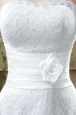 Delicate Lace Flower Strapless 2020 Wedding Dress A-line Sleeveless Lace-up_3