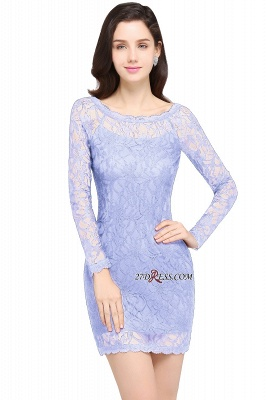 Sheath Long-Sleeves Lace Navy-Blue Cheap Cocktail Dress_2