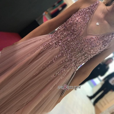 Sleeveless A-line V-neck Evening Gowns | 2020 Tulle Prom Dress With Slit_1
