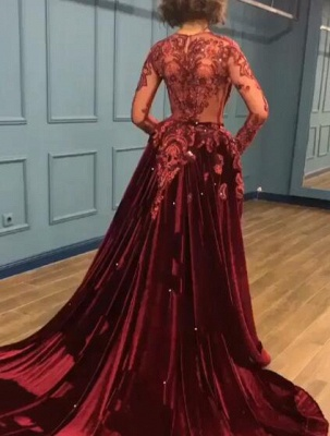 Gorgeous Long Sleeve Burgundy Prom Dresses | 2020 Overskirt Lace Appliques Evening Gown BC0731_6