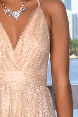 Glamorous V-Neck Sleeveless Evening Gowns | Criss Cross Strings Long Prom Dress With Crystals_3