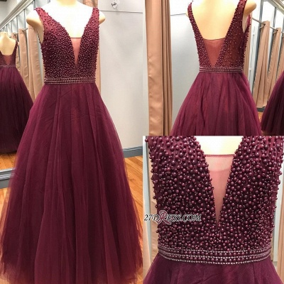 Gorgeous V-Neck Sleeveless 2020 Prom Dresses With Beadings Online_2