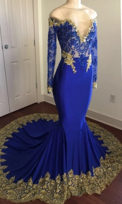 Gorgeous Long Sleeves Lace 2020 Prom Dress | Mermaid Gold Appliques Evening Gowns_1