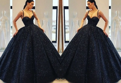 Honorable Spaghetti-Straps Sweetheart Evening Dress   Ball Gown Sequins Prom Gown On Sale_2